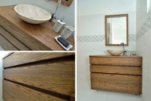 kúpeľňová skrinka - morená dubová dýha, masívny plát